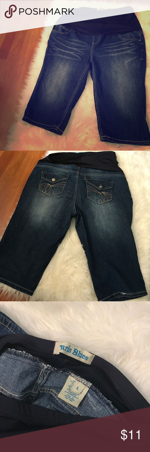 Blue Jean Maternity Capri's Size Large Has the big belly support band. Has a comfy fit. EUC. Smoke free home. No rips or stains. Paris Blues Pants Capris