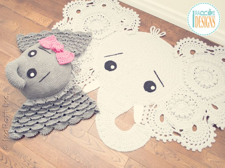 Josefina And Jeffery Elephant Rug And Pillow Crochet
