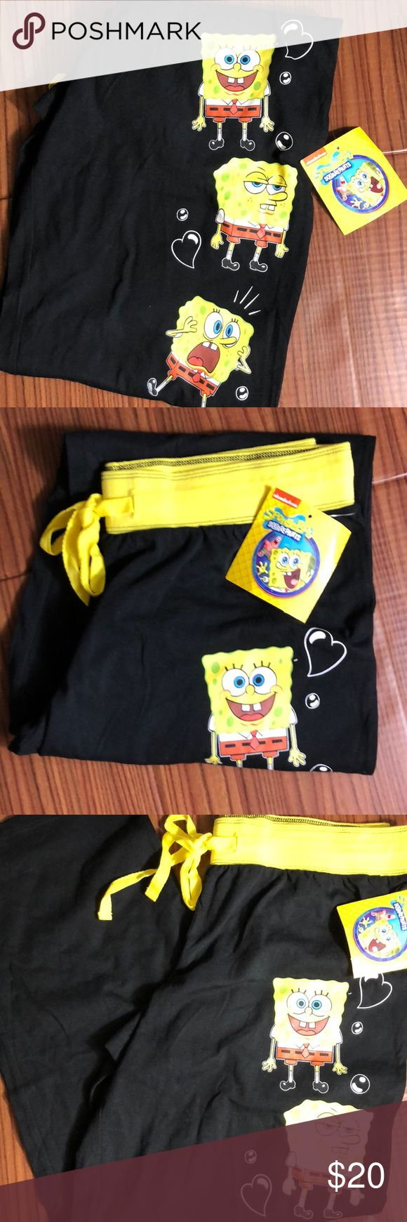 "NICKELODEON SpongeBob SquarePants Pajama Bottoms Brand new with tags.  Print featuring Nickelodeon's SpongeBob SquarePants.  Pajama has draw stringvand garterized waist.  Materials: Cotton & Polyester  Measurements (approx and taken while item is laying flat):  Waist 15"" Inseam 28""  Rise 9.5""    No trades We are a smoke and pet-free home. Nickelodeon Intimates & Sleepwear Pajamas"