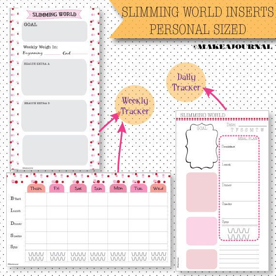 Slimming World inserts for Personal sized KATE by MakeAJournal, £2.50