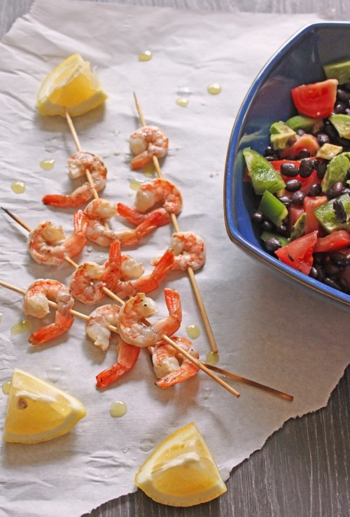 Barbecued Shrimp with Black Bean Salad | She Loves to Eat | Pinterest