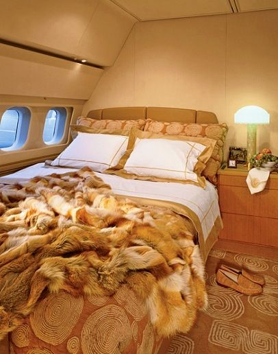 Bed on the air. Luxury private jet interior!