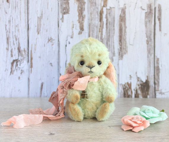 mint and pink  green and pink mini teddy by ValentinaFreedom