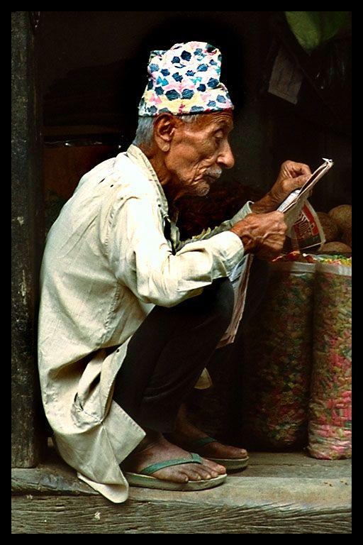 Old Man Reading Kathmandu, Nepal, April 2001
