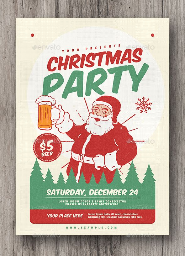 Retro Christmas Party Flyer FeaturesAI CS6 Psd Files A4 Size 827