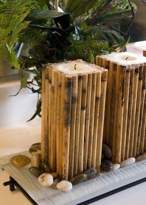 decorar velas con cañas de bambu