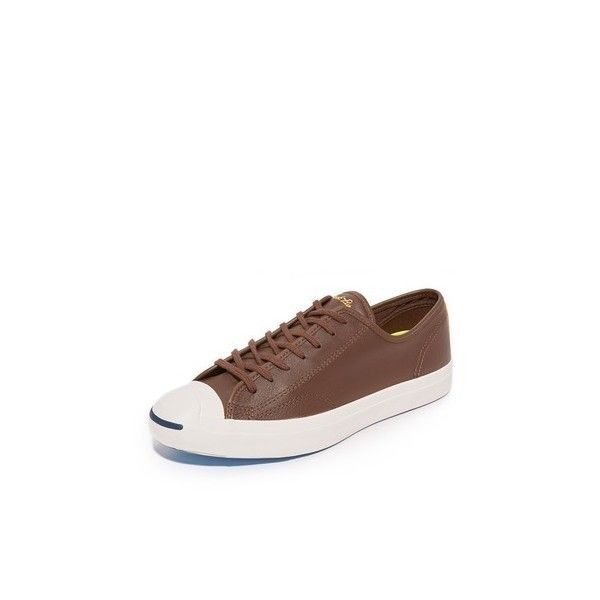 Converse Jack Purcell LTT Leather Sneakers ($85) ❤ liked on Polyvore featuring men's fashion, men's shoes, men's sneakers, chocolate, mens leather shoes, converse mens shoes, mens leather sneakers and converse mens sneakers