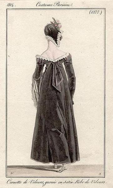 1814 - costume parisien plate 1377 - velvet hat trimmed in satin, velvet gown