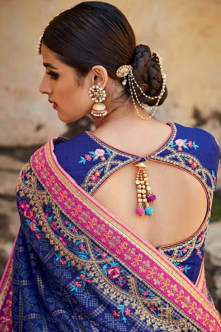 Beautiful royal blue saree with pink border