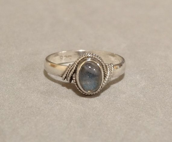 Vintage #Moonstone #Ring #Sterling Silver Clear Gemstone Rope Design Size 5.75 Marked 925