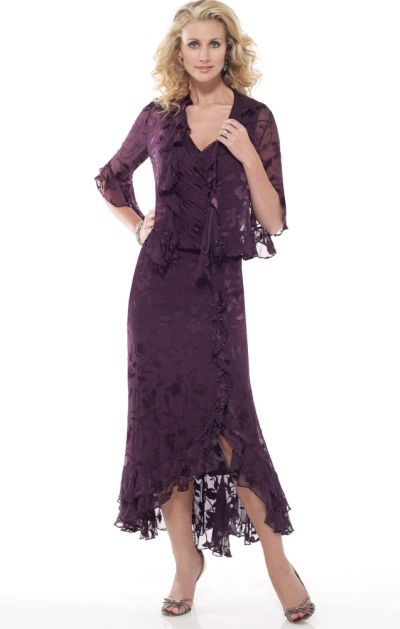 Capri by Mon Cheri Silk Burnout Tea Length Evening Dress CP11015-4