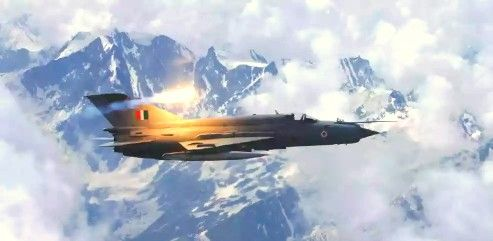 Indian air force Mig-21 Bison over himalya