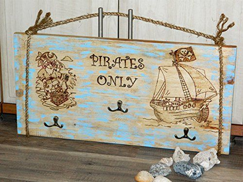 Nursery coat rack Pirates only Wall rack Pirate Kids Coat clothes hooks Wood Organizer sea ocean Nautical decor Hook hanger Boy room decor Coastal cottage decor Nursery decor Baby gift Boy gift