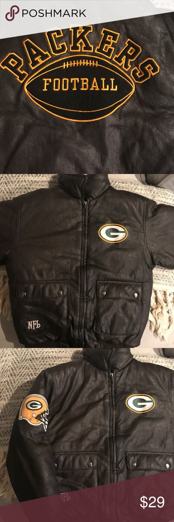 Green Bay Packers NFL Bomber, 10-12 Excellent used condition. Faux Leather in Vintage Style with logos.  Quilted lining for warmth. Small amount cracking in faux leather as seen in pictures but only noticed for pictures. NFL Jackets & Coats Puffers