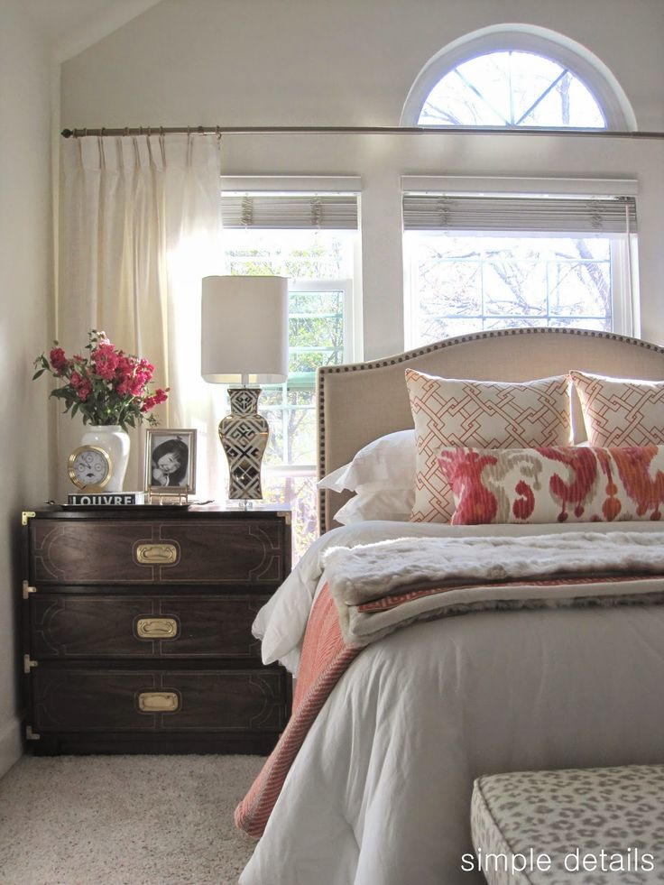 Budget Craigslist Bedroom - campaign chests, walmart upholstered headboard, ikea curtain panels, neutral with pops of color