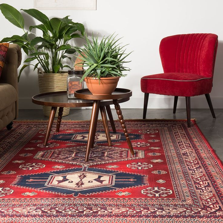 DUTCHBONE JAR AZTEC RUG in Old Red  | A beautifully bohemian blue and red aztec rug to transform your living room decor