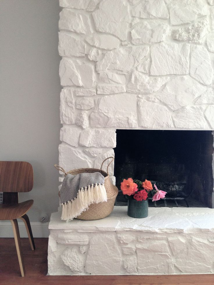 How to: Painting the stone fireplace white – Greige Design