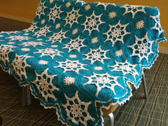 Elsa Frozen Inspired Snowflake Afghan Crocheted by sherryann325