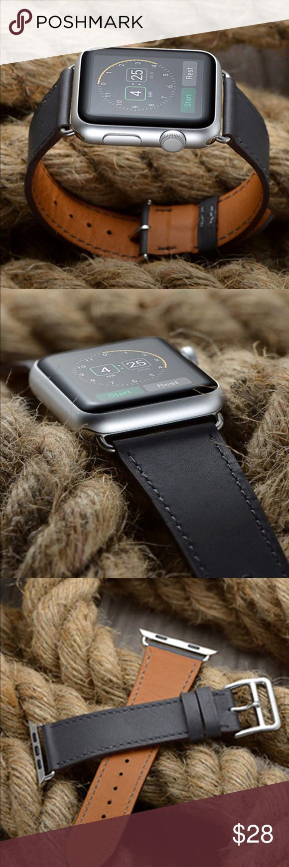 Dark gray Apple Watch leather band, 38mm or 42mm!! Dark gray Apple Watch leather Band, 38mm or 42mm with silver adapters and silver buckle. Please select your size when you purchase.  Only the band is for sale; it does not include the watch. I also have other styles, band colors and hardware colors. Please see the other listings in my closet or send me a message. Other