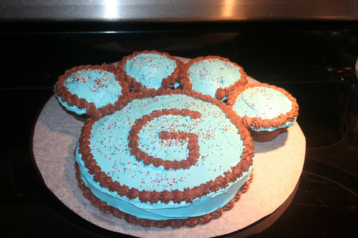 Birthday Cakes For Dogs In Massachusetts ~ Paw print cake and cupcake idea for a dog or puppy themed birthday