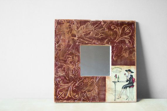 LA PRUNELLE  Wall Mirror Burgundy Red and Cream by BeauMiracle