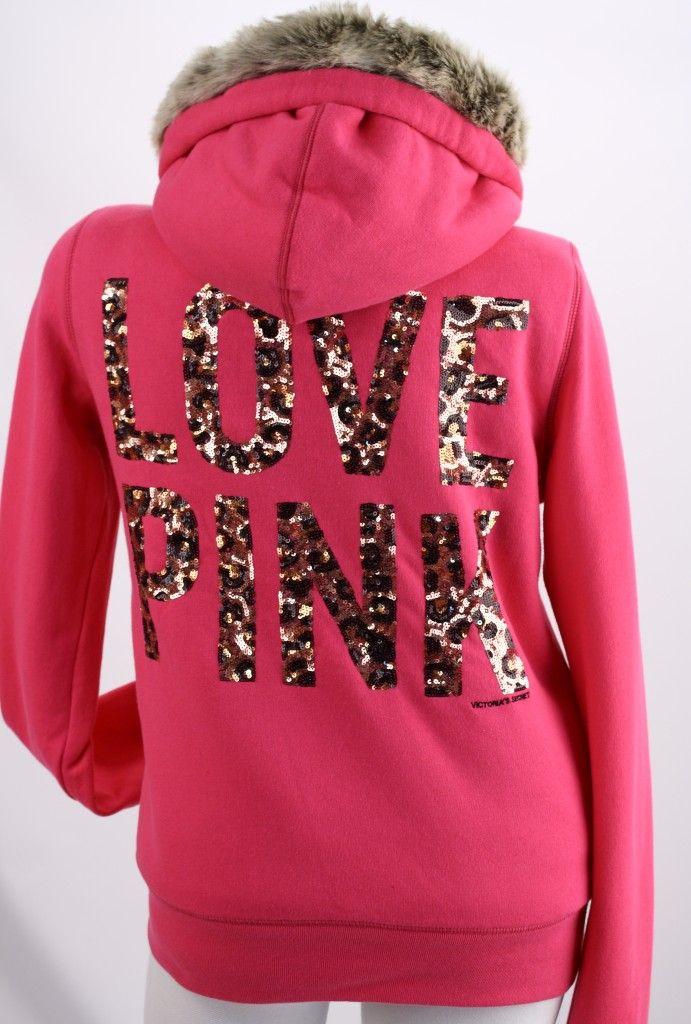 Cheetah Love Pink Victoria's Secret | Victoria's Secret Pink Leopard Sequin Bling Fashion Show Fur Hoodie ...