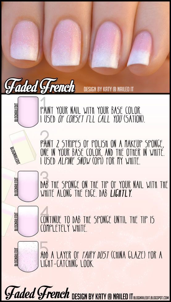 Learn how to create a Faded French manicure with this simple tutorial from Katy @ Nailed It Blog! {#naileditblog french manicure, nails, naildesign, tutorial #nailpolish pink nail polish, sparkles, wedding, bachelorette party, bridesmaids}