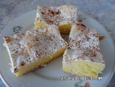 Peřinková buchta s pudinkem těsto : 200g cukru moučka, 4 celá vejce, 1 dcl oleje, 200g hlad mouky, 1 pr do peč náplň : 2 vanil pudinky, 1 litr mléka, cukr písek, 2 zakys smetany, 2 skořic cukry Nejdřív si uvaříme pudinky v 1 litru mléka + 4 -6 PL cukru. Ušleháme 200g ml. cukru, 4 celá vejce a 1 dcl oleje. Pak zamícháme 200g hlad mouky s 1 práš do peč. Vylejeme na plech. Na to uvařené pudinky, pečeme 20 min na 200´C. Upečené necháme stát asi 5 min potřeme zakys smetanou, posypeme skořic…