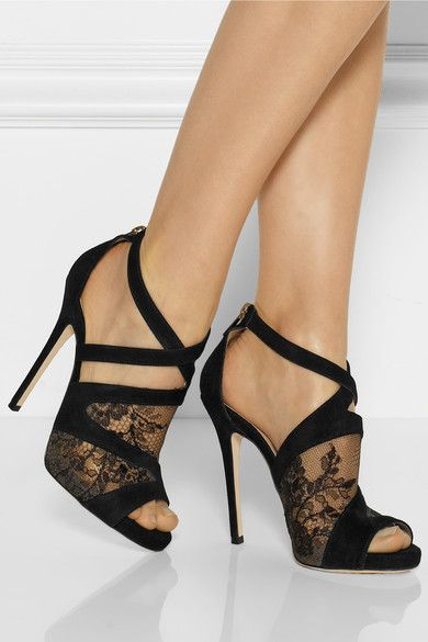 JIMMY CHOO Vantage suede and lace sandals