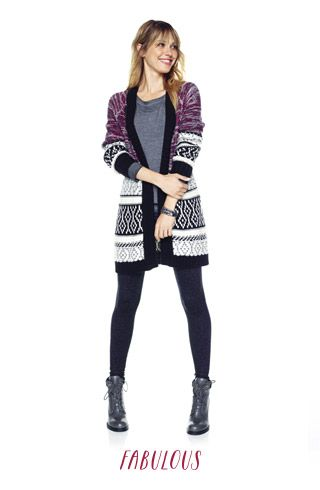 maurices outfit generator (Mixed stitched marled yarn cardigan, long sleeve burnwash sweatshirt, solid scoop neck tank, and legging with brocade pattern)