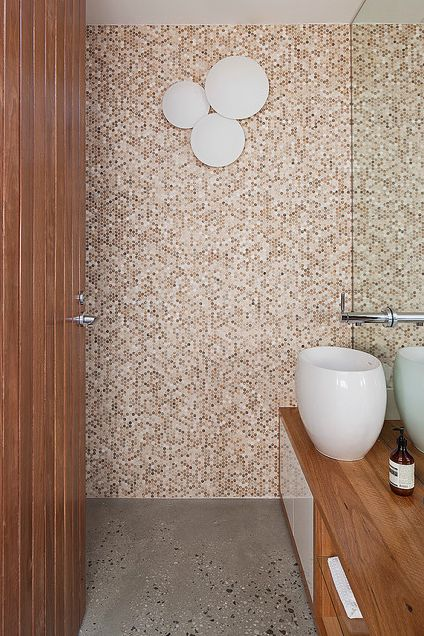 Alternative wall tile - mixed mosaics to add warmth and texture but maintain lighter colours as to not make the room feel even smaller