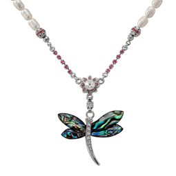 Mother of Pearl Dragonfly Necklace with Freshwater White Pearl Chain