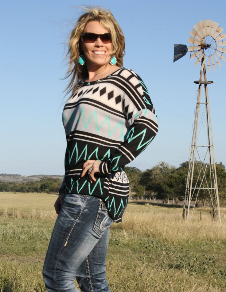 Mint Black Chevron Blouse | The Texas Cowgirl | Free Shipping