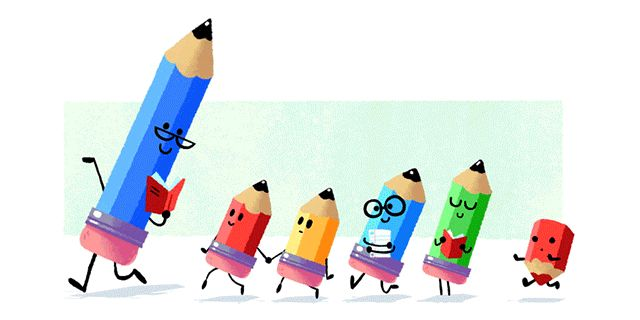 Google Teacher's Day Doodle With Animated Pencils As Teacher & Students