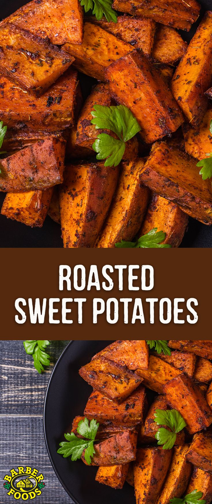 Roasted sweet potatoes go great with our stuffed chicken breasts! #barbernight