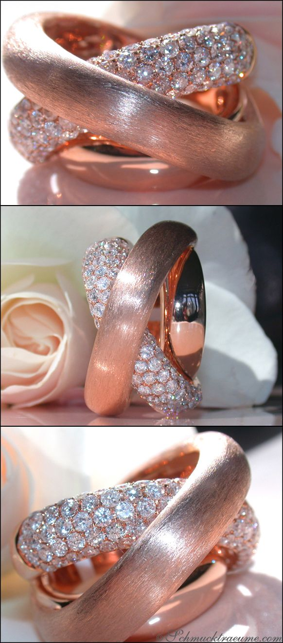 Terrific: Huge Rosegold Diamond Ring, RG-14K --- 98 Diamonds, Full Cut, 2,68 cts. G-VS --- Price at the jeweller's: 8.935,00€ -- Our price: 6.200,00€ --- Find out: schmucktraeume.com -- Visit us on FB: https://www.facebook.com/pages/Noble-Juwelen/150871984924926 -- Any questions? Contact us: info@schmucktraeume.com -- We also ship from the US.