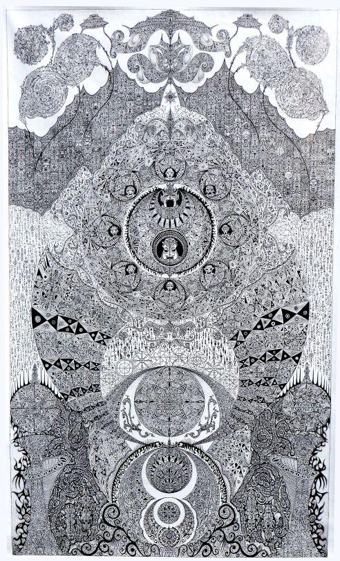 """Jean Pierre Nadau, techniques mixtes, 210x130, """"35°"""", 2016"""