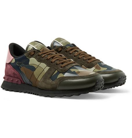 ae07d5a4c763f VALENTINO GARAVANI ROCKRUNNER CAMOUFLAGE-PRINT CANVAS, LEATHER AND SUEDE  SNEAKERS - GREEN. #valentino #shoes