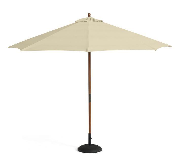 round market umbrella with teak pole