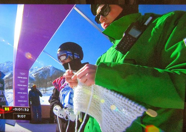 Antti Koskinen, Team Finland's coach, caught knitting at the Sochi Olympics men's snowboard slopestyle finals #celebknitters