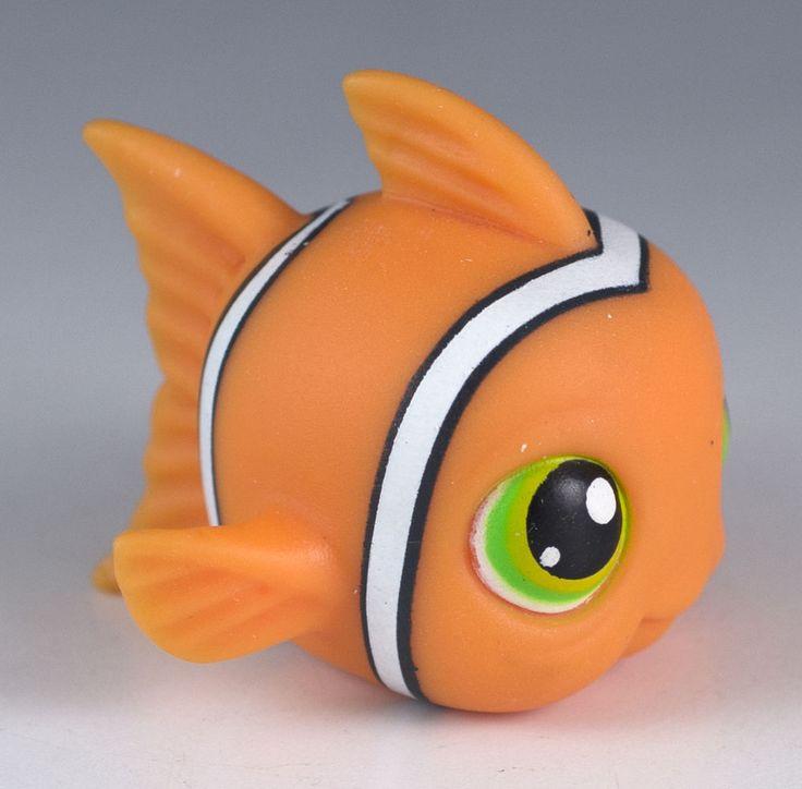 Littlest pet shop clownfish fish 130 orange with green for Fish pet shop