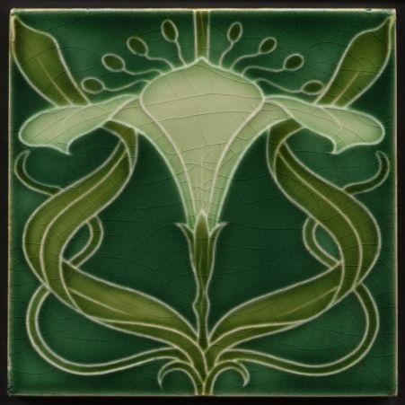 Details About Th2357 Rare Antique Mintons Art Nouveau Tile
