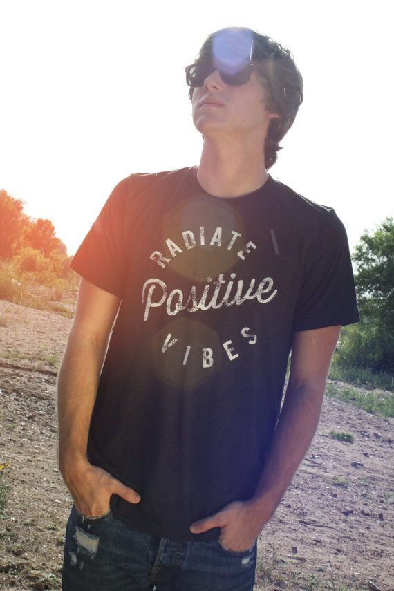 Mens Graphic Tee, LARGE, Positive Vibes shirt, Good Vibes shirt, Black, Hippie Shirt