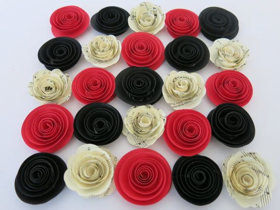 The 22 best set of 25 small paper flowers images on pinterest s red black and sheet music paper rose 24 pieces flowers wedding table topper decorations bridal shower decor birthday party supply mightylinksfo