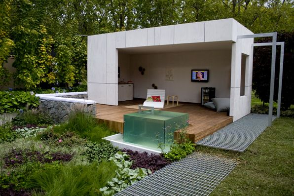 Love the glass cube is it a water feature greenart for Garden features australia