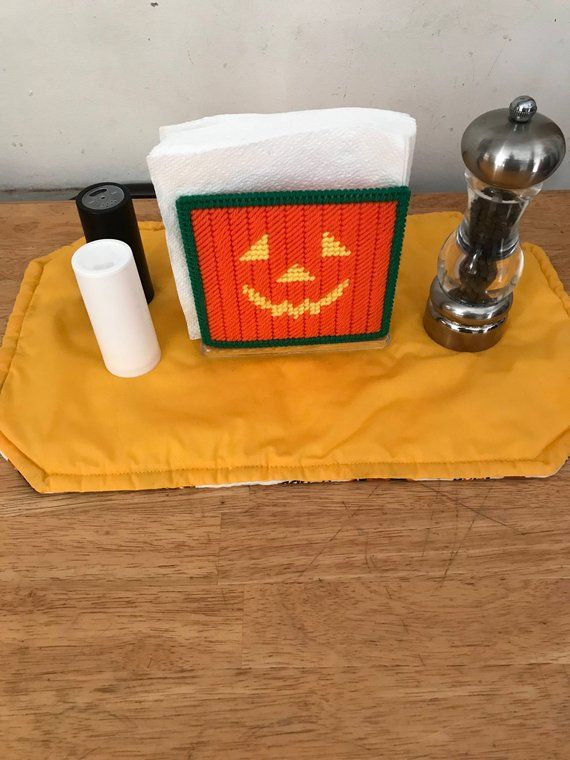 Jack-O-Lantern Napkin Holder Halloween Plastic Can…
