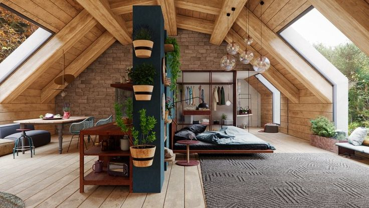 An amazing loft in the middle of nature, 3D design…