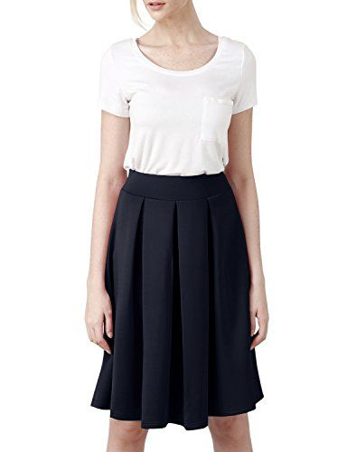 Elbon Boutique Womens Casual Comfy Elastic Wide Band Pleated Midi Skirt NAVY M >>> Be sure to check out this awesome product.