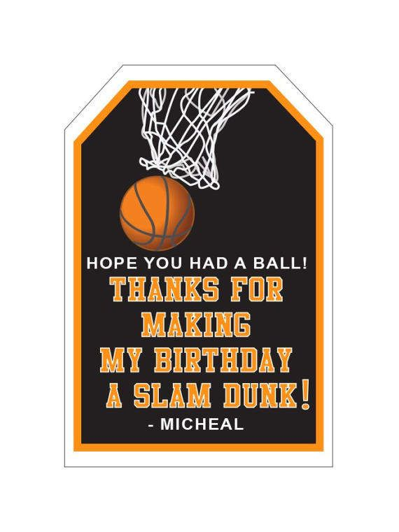 Basketball Party Favor Tags, Basketball Party Favors, Slam Dunk - INSTANT DOWNLOAD