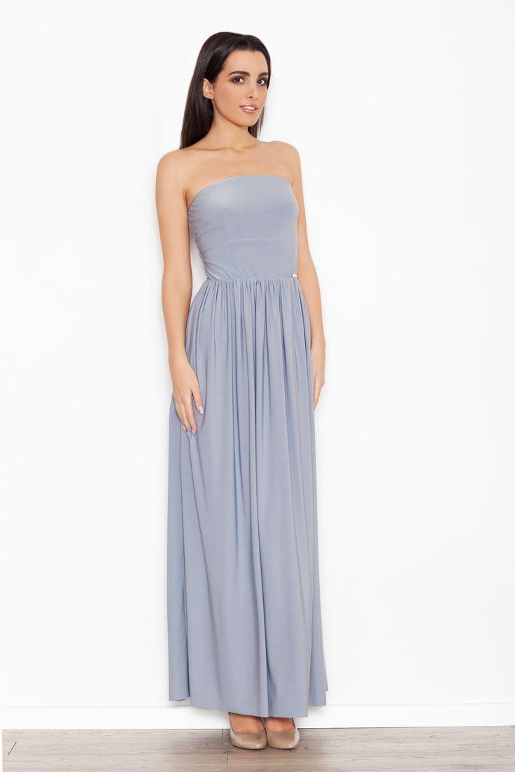 Szara sukienka maxi z odkrytymi ramionami